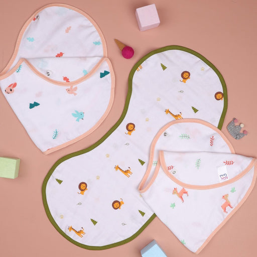 The Nestery : Kicks & Crawl - Fun In Forest - Reversible Organic Burp Cloth Bibs (Pack Of 3)