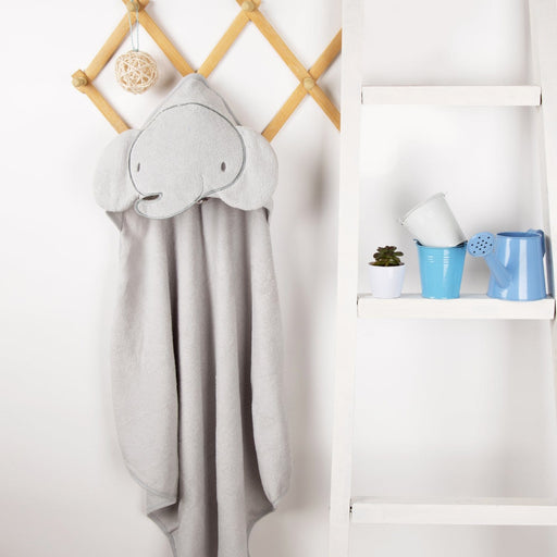 The Nestery : Kicks & Crawl - Hooded Towel - Baby Elephant