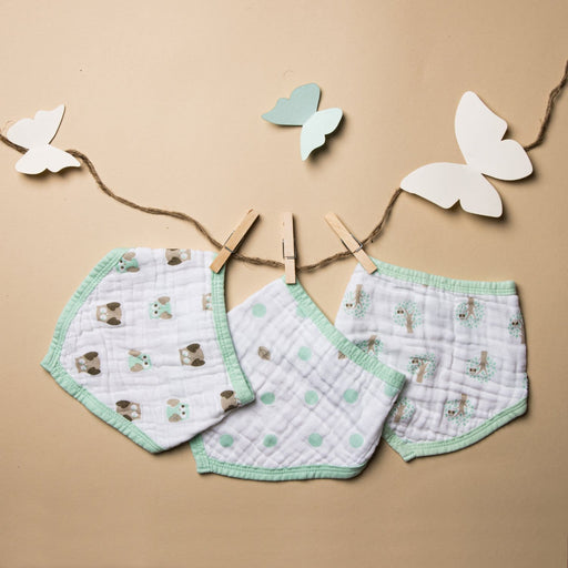 The Nestery : Kicks & Crawl - Muslin Bandana Bibs - Mint Green (Pack Of 3)