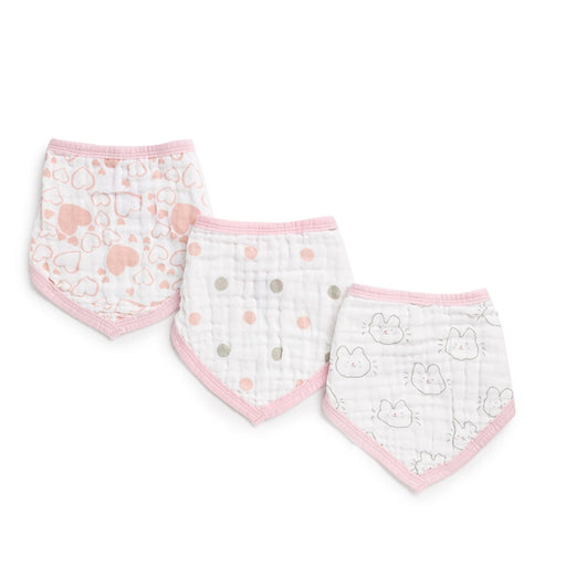 The Nestery : Kicks & Crawl - Muslin Bandana Bibs - Pink Hearts (Pack Of 3)