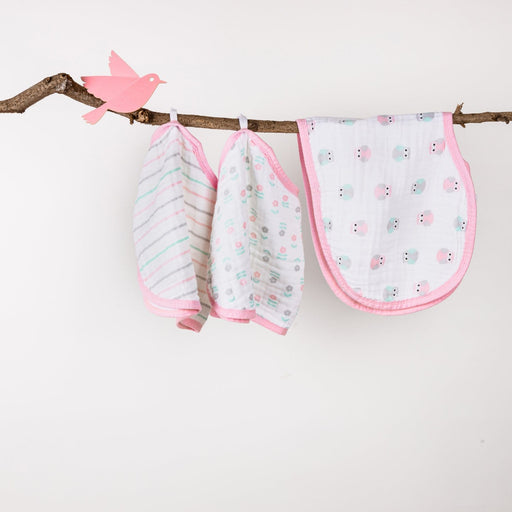 The Nestery : Kicks & Crawl - Muslin Burp Cloth Bibs - Baby Pink (Pack Of 3)