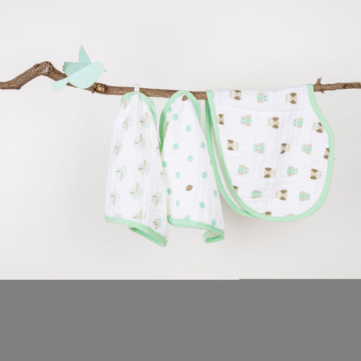 The Nestery : Kicks & Crawl - Muslin Burp Cloth Bibs - Mint Green (Pack Of 3)