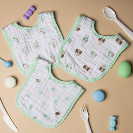 The Nestery : Kicks & Crawl - Muslin Round Bibs - Mint Green (Pack Of 3)