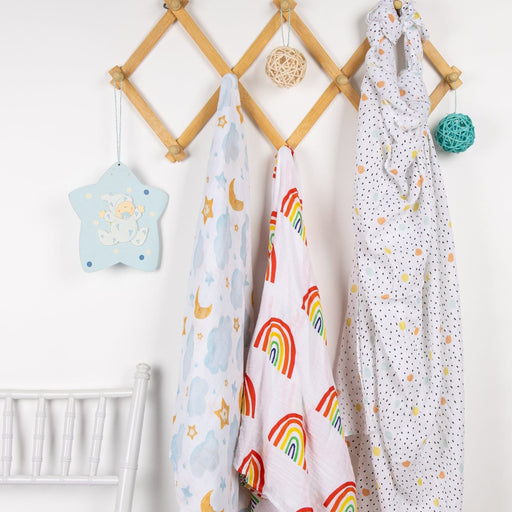 The Nestery : Kicks & Crawl - Muslin Swaddle - Over The Rainbow (Pack Of 3)