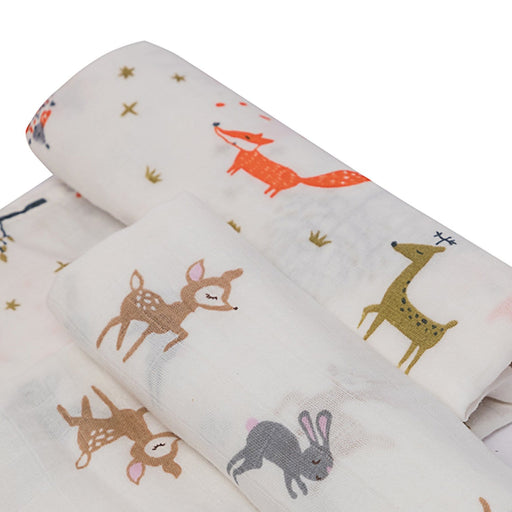 The Nestery : Kicks & Crawl - Muslin Swaddles -  Fun In Forest (Pack Of 2)
