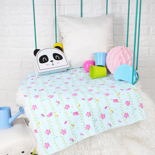 The Nestery : Kicks & Crawl - Pink Owl - Waterproof Bed Sheet