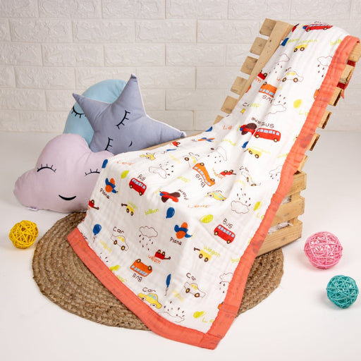 The Nestery : Kicks & Crawl - Quilted Muslin Blanket - City Crawler