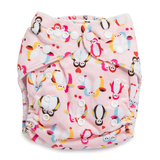 The Nestery : Kicks & Crawl - Reusable Velvet Diaper - Baby Penguins