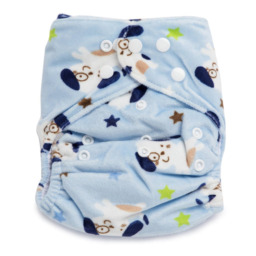 The Nestery : Kicks & Crawl - Reusable Velvet Diaper - Friendly Dog