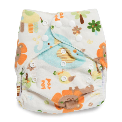 The Nestery : Kicks & Crawl - Reusable Velvet Diaper - Lions And Elephants