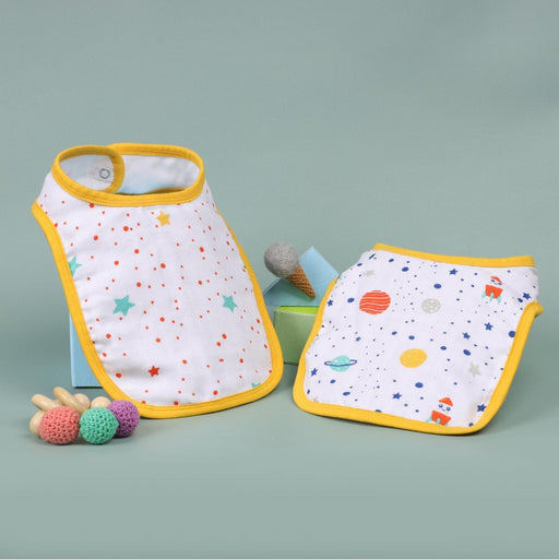 The Nestery : Kicks & Crawl - Space Explorer - Organic Round Bibs(Pack Of 2)
