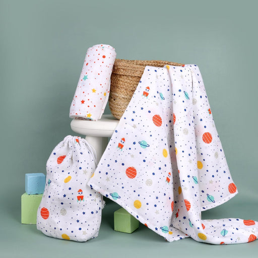 The Nestery : Kicks & Crawl - Space Explorer - Organic Swaddle (Pack Of 2)