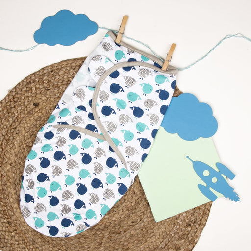 The Nestery : Kicks & Crawl - Velcro Ready Swaddle - Light Blue Whales
