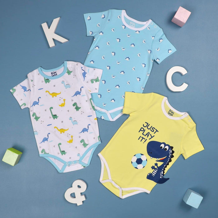 The Nestery : Onesies - Playtime Dino (Pack Of 3)By Kicks & Crawl