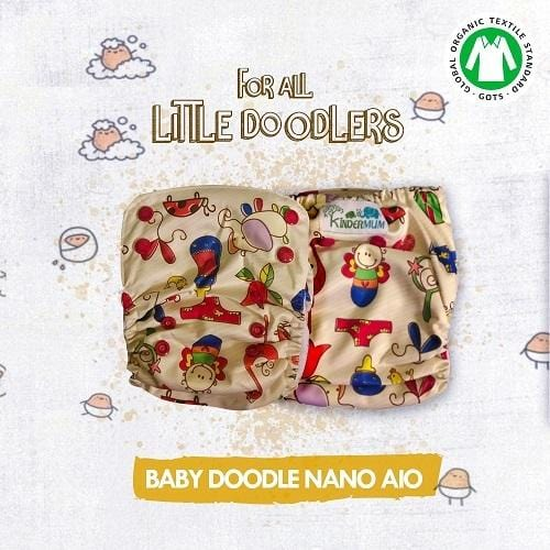 BABY DOODLE - NANO ALL-IN-ONE TRIM CLOTH DIAPERS