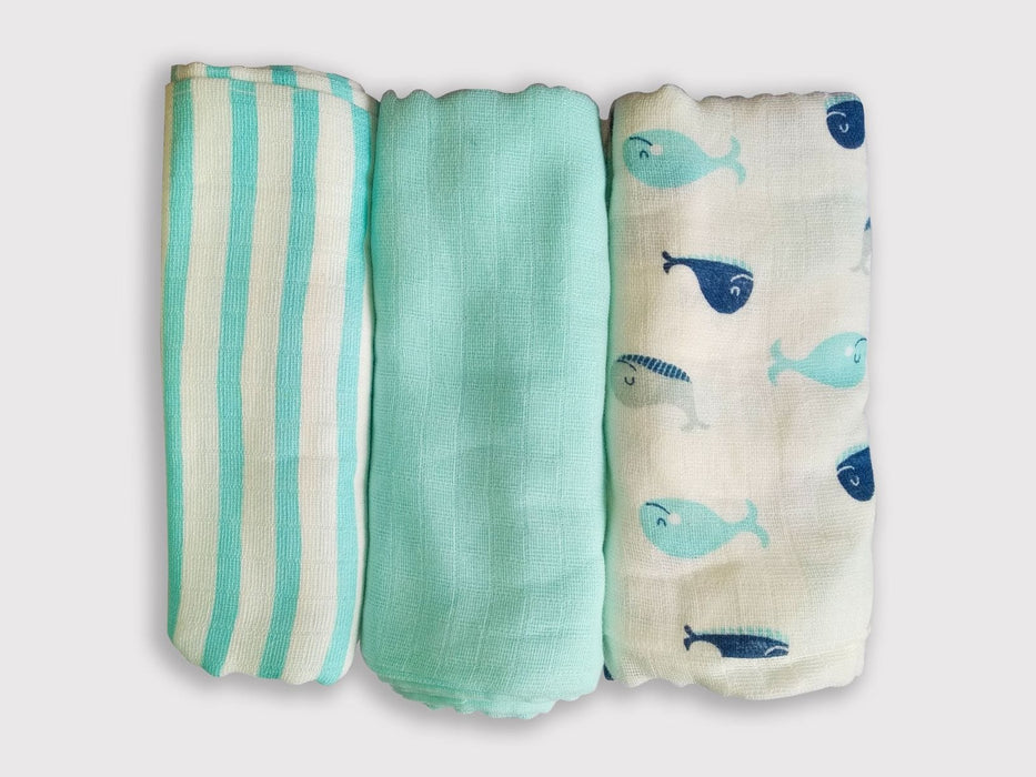 The Nestery: Kindermum - BLUE MUSLIN FLATS/SQUARES (SET OF 3)