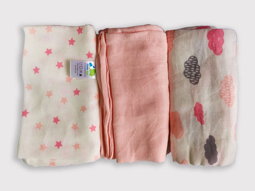 The Nestery: Kindermum - PINK MUSLIN FLATS/SQUARES (SET OF 3)