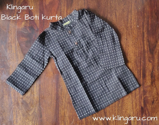 The Nestery: Klingaru - Long Kurta - Black Booti
