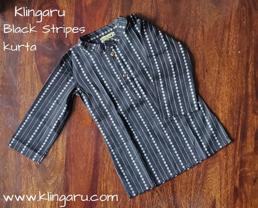The Nestery: Klingaru - Long Kurta - Black Stripes