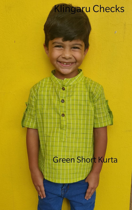 The Nestery: Klingaru - Short Kurta - Green Checks