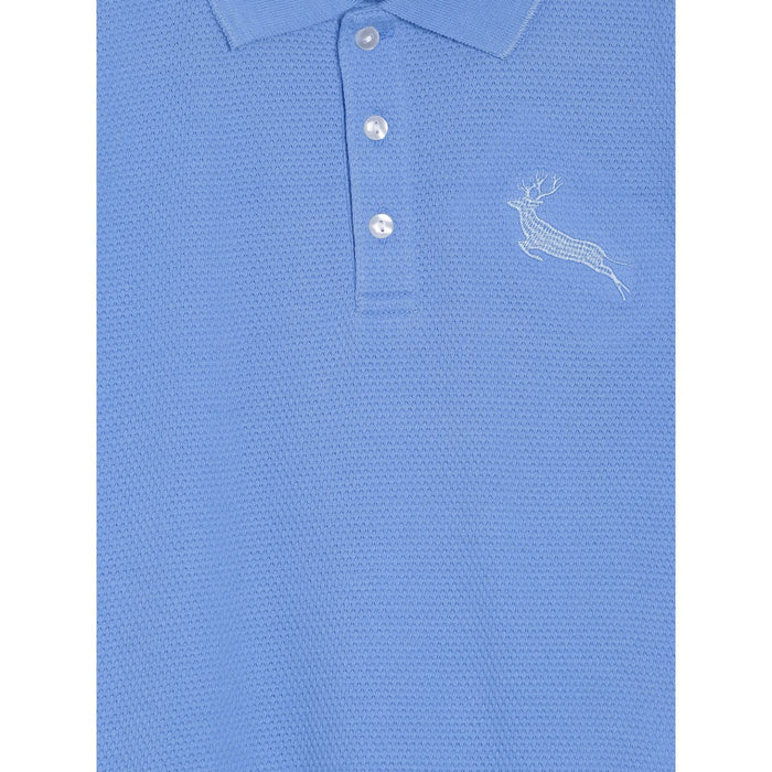 Blue Solid Self Fabric Polo Cotton T-Shirt
