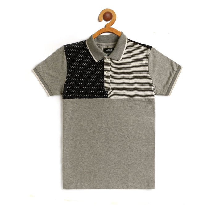 Kids Grey Cut And Sew Polo Cotton T-Shirt