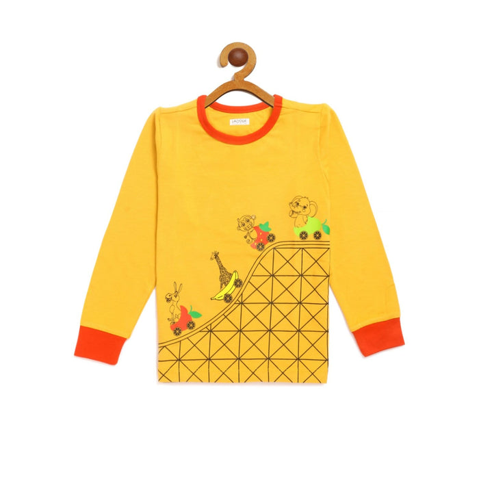 The Nestery : Ladore - Kids Yellow Full Sleeves Roller Coaster T-Shirt