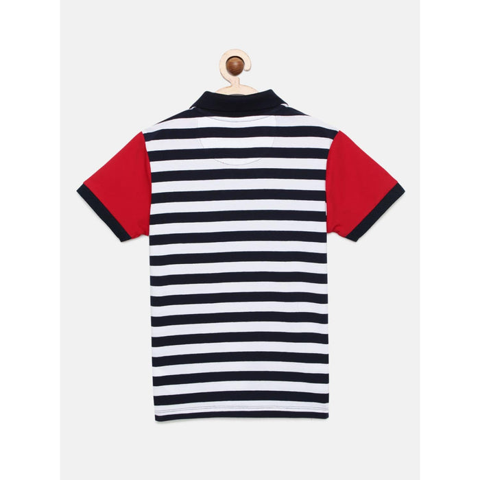 Navy Blue Striped Polo Cotton T-Shirt