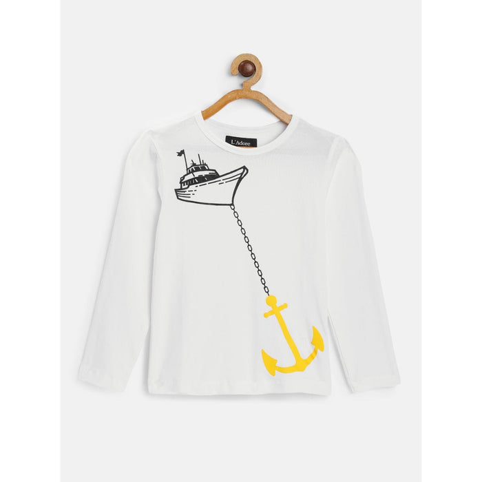 White Anchor Graphic Printed Round Neck Cotton T-Shirt