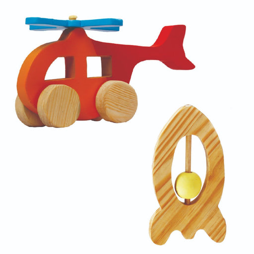 The Nestery : Little Jamun - Helicoptor Wooden Toy + Rocket Rattle