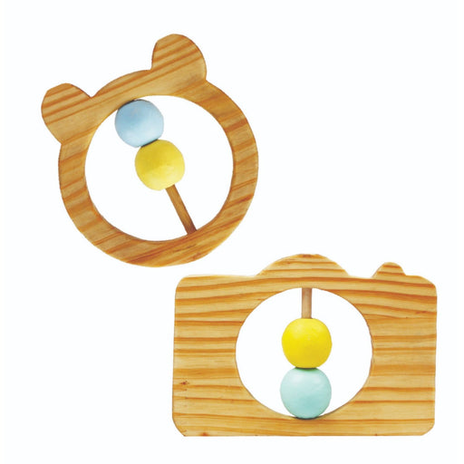 The Nestery : Little Jamun - Teddy Wooden Rattle + Camera Wooden Rattle
