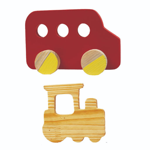 The Nestery : Little Jamun - Zooming Bus + Train Wooden Rattle