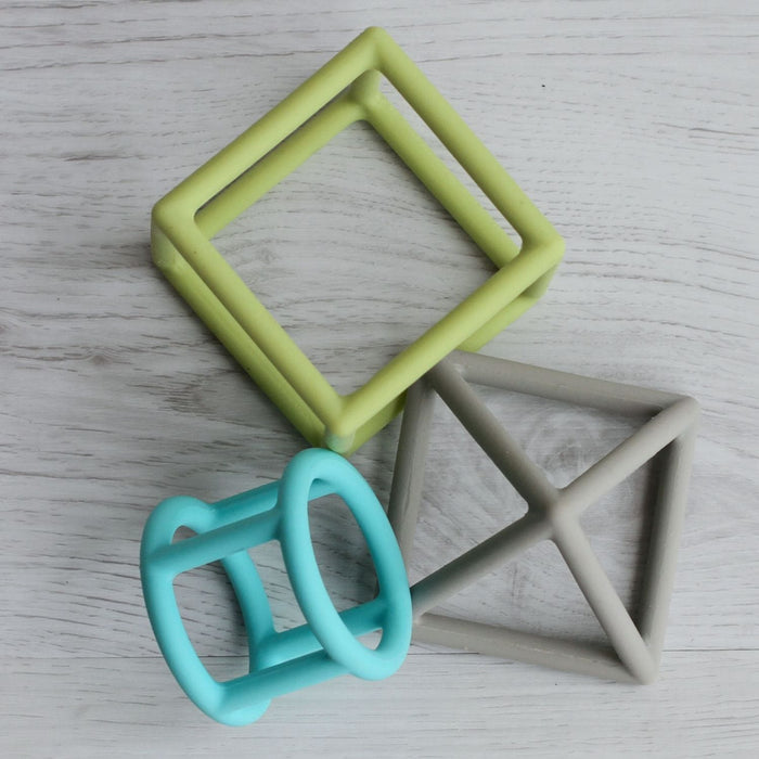 The Nestery: Little Rawr - Silicone Geometric Teether Set- Blue (Set Of 3)