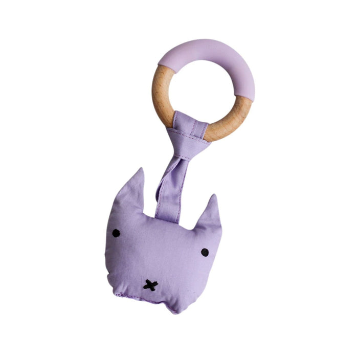 The Nestery: Little Rawr - Wood Plush Rattle Teether Toy - Kitty