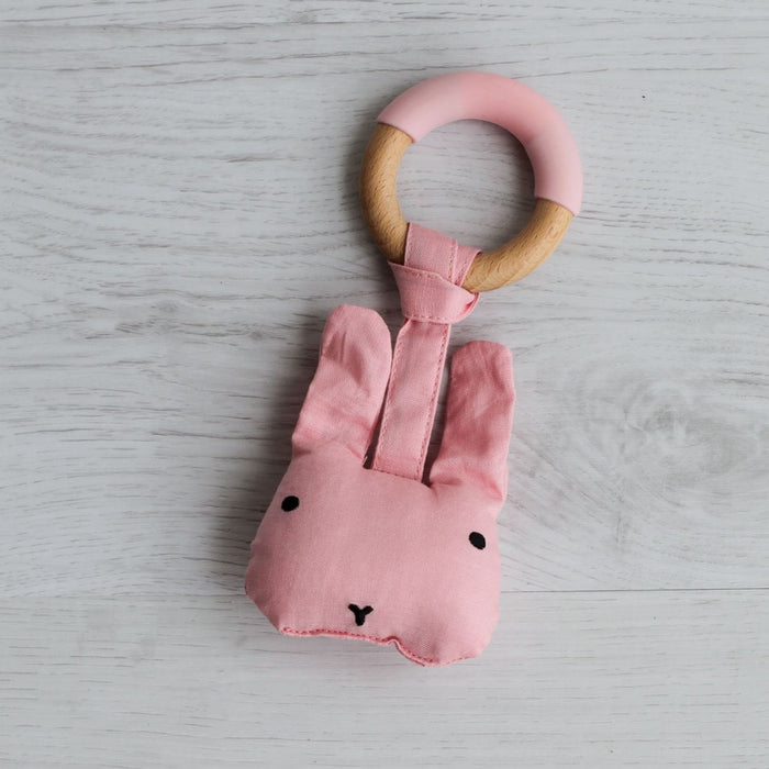 The Nestery: Little Rawr - Wood Plush Rattle Teether Toy - Rabbit