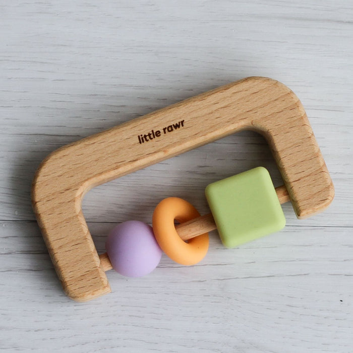 The Nestery: Little Rawr - Wood & Silicone Bead D Shape Teether Toy