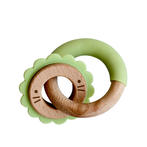 The Nestery: Little Rawr - Wood & Silicone Disc & Ring Teether - Lion