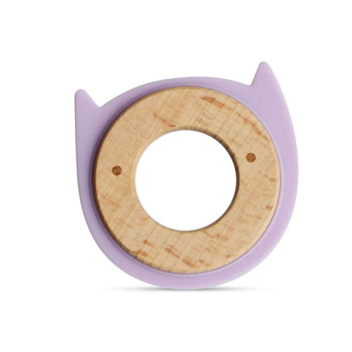 The Nestery: Little Rawr - Wood & Silicone Disc Teether - Kitty