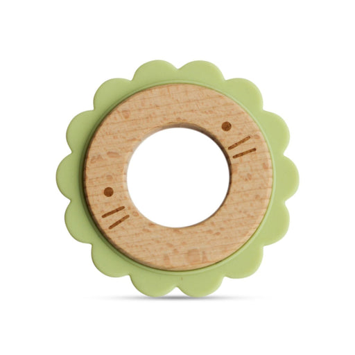 The Nestery: Little Rawr - Wood & Silicone Disc Teether - Lion