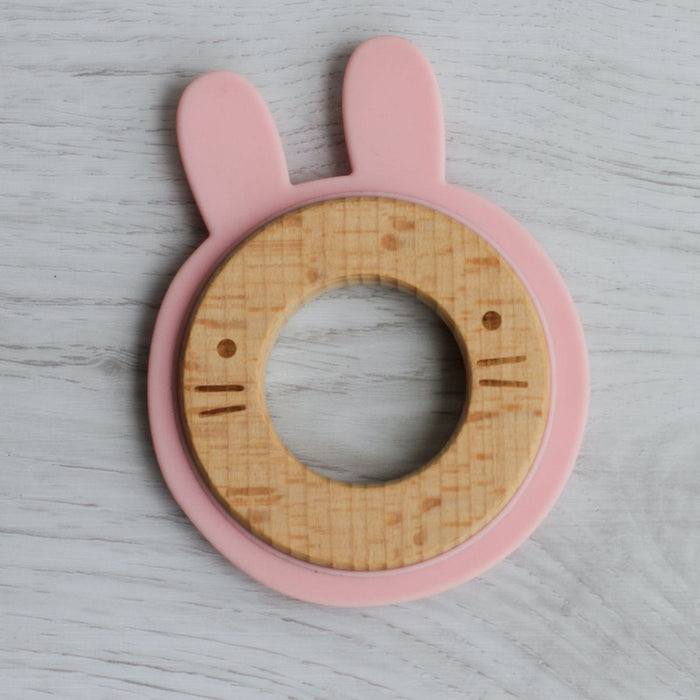 The Nestery: Little Rawr - Wood & Silicone Disc Teether - Rabbit