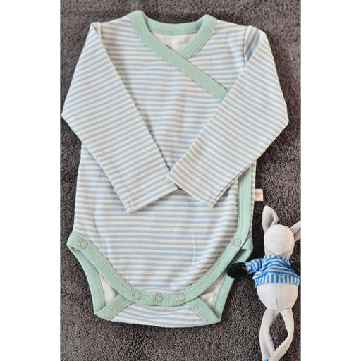 The Nestery : Love The World Today - Organic Cotton Full-Sleeve Kimono Onsie - Mint Blue Striped