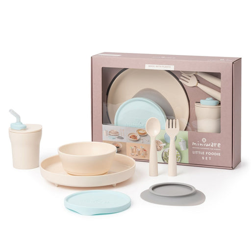 The Nestery : Miniware - Little Foodie All-In-One Feeding Set - Vanilla/ Aqua