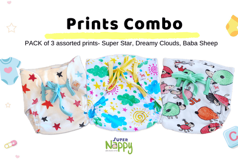 Super Nappy - Pack of 3 -  (Printed, Size 0)