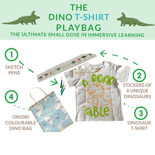 The Nestery: Oriori Kids - The Dino T-shirt Playbag