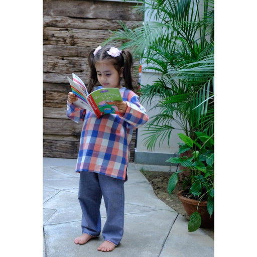 The Nestery : Oriori Kids - Flannel Check Nightsuit - Minimalist Collection