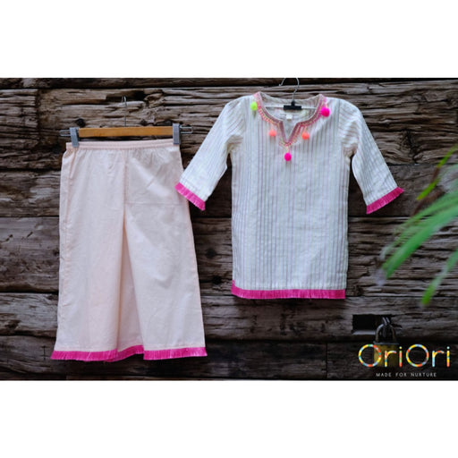 The Nestery : Oriori Kids - Pink Rainbow - Kurta Pyjama Set