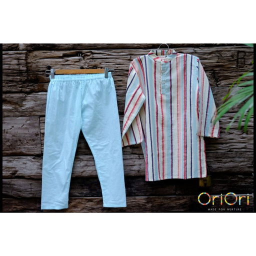 The Nestery : Oriori Kids - Striped Patrol - Kurta Pyjama Set
