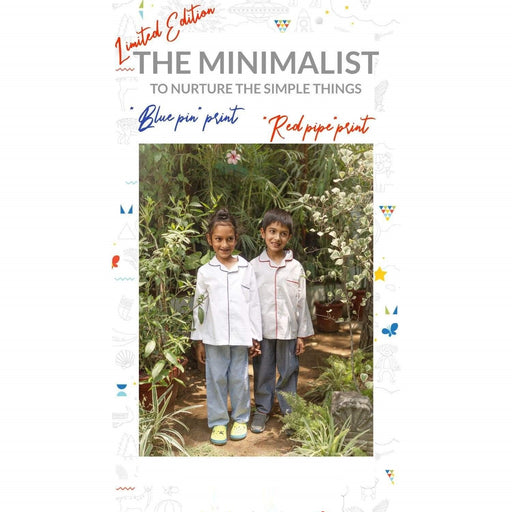 The Nestery : Oriori Kids - The Blue Pin Nightsuit - Minimalist Collection