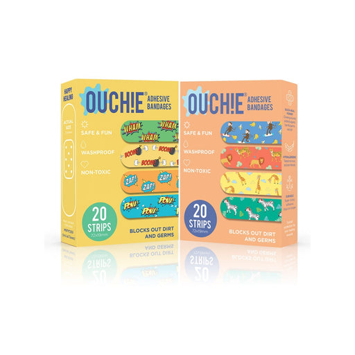 The Nestery : Non-Toxic Printed Bandages Combo Set Of 2 (40 Pack) - Yellow & Orange