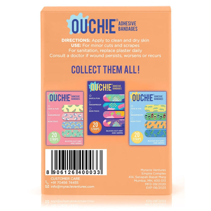 The Nestery : Ouchie By Aya Papaya - Non-Toxic Printed Bandages Double Combo 40 Pack - Orange